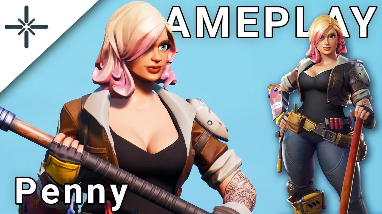 """NEW """"Penny"""" Fortnite Skin Gameplay (Save The World Constructor in Battle Royale)"""