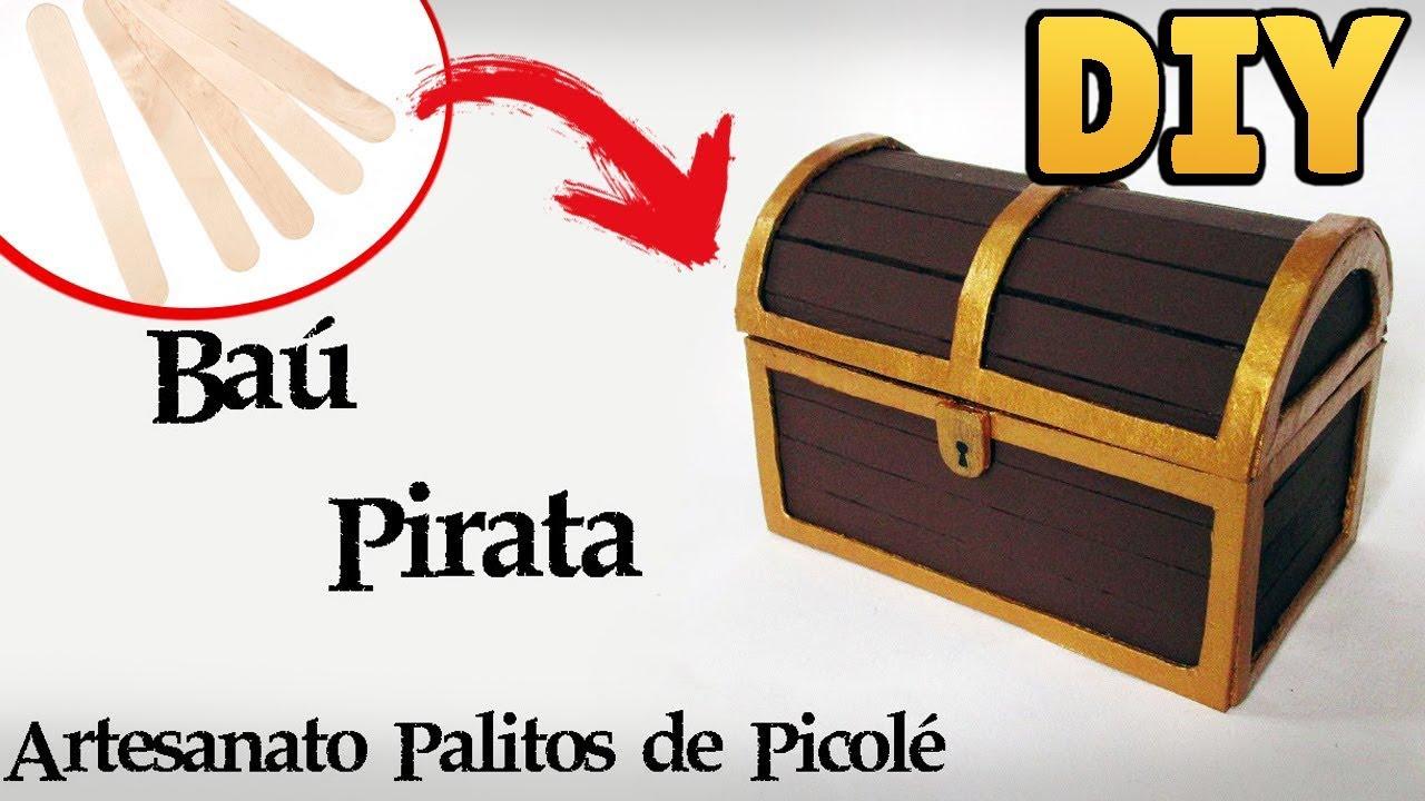 diy como fazer um baú do tesouro pirata artesanato palitos picolé