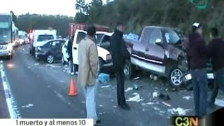 Deja carambola un muerto y 10 heridos en autopista México-Puebla