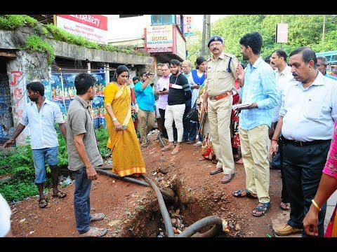 Mangaluru City Corporation Mayor, officials and traffic police inspected footpath violation