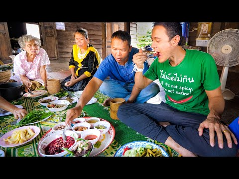 Thai Farm Food!! 3 HUGE VILLAGE MEALS - Unseen Thai + Lao Food on the Mekong River!!
