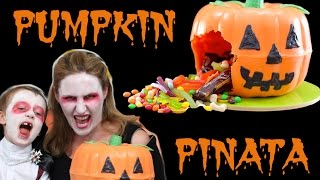 Halloween Pumpkin Pinata Jack O Lantern Smash Cake | Cooking With Squish