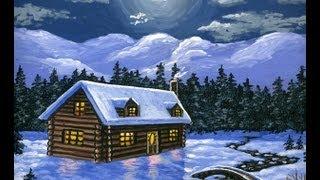 Como pintar casas, montanhas e neve usando acrílica sobre tela