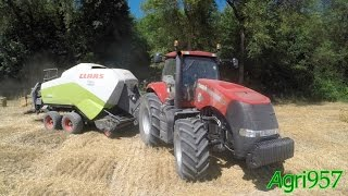 case ih magnum 340 claas quadrant 3300 straw baling in italy 2015