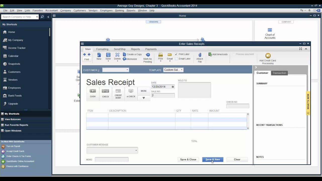 Quickbooks   Enter Cash Sales   Develop Your Skills 3 5, P. 99   YouTube  Cash Sale Receipt