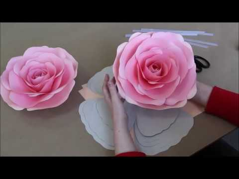 Large paper rose tutorial. Easy step by step video with English commentary.