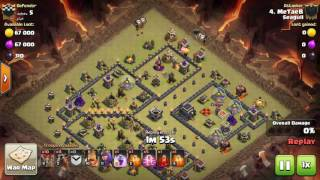 "Clash of clans - Lavaloon - 3 staring Th9 popular Internet war base ""Anti 2 star war base by #Met3eb"