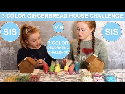 3 COLOR GINGERBREAD HOUSE DECORATING CHALLENGE   SIS v's SIS   Ruby and Raylee