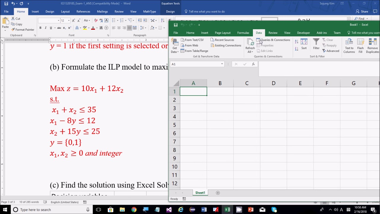 Integer Linear Programming: Excel Solver Example 1