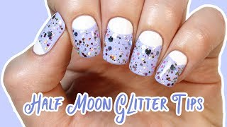 Half moon nails with glitter 🌙✨