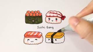 วาดซูชิน่ารักๆกันจ้า♪ How to draw cute sushi.
