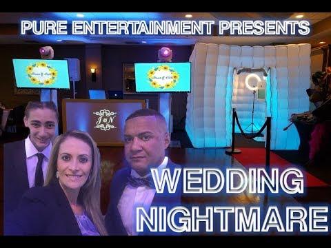 A WEDDING NIGHTMARE//EV SPEAKERS BEHIND DJ BOOTH.