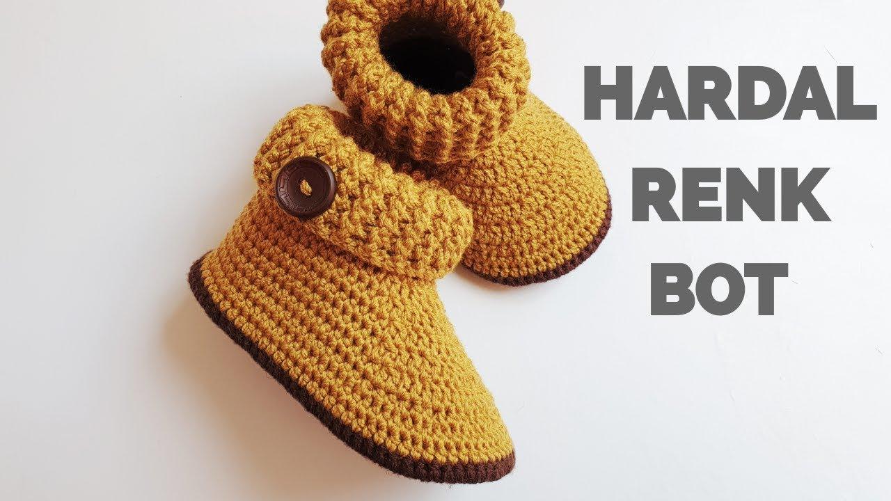 BU PATİK OLAY 😍 HARDAL RENK HARİKA BİR BOT ÖRÜYORUZ (20-21 NO) Baby boy crochet booties