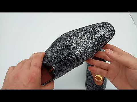 Italian Luxury Men's Formal Dress Office Wedding Business Derby Shoes Genuine Stingray Shoes