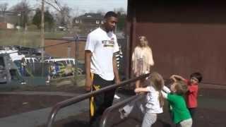 WVU basketball players visit Morgantown ELF 4-14-14
