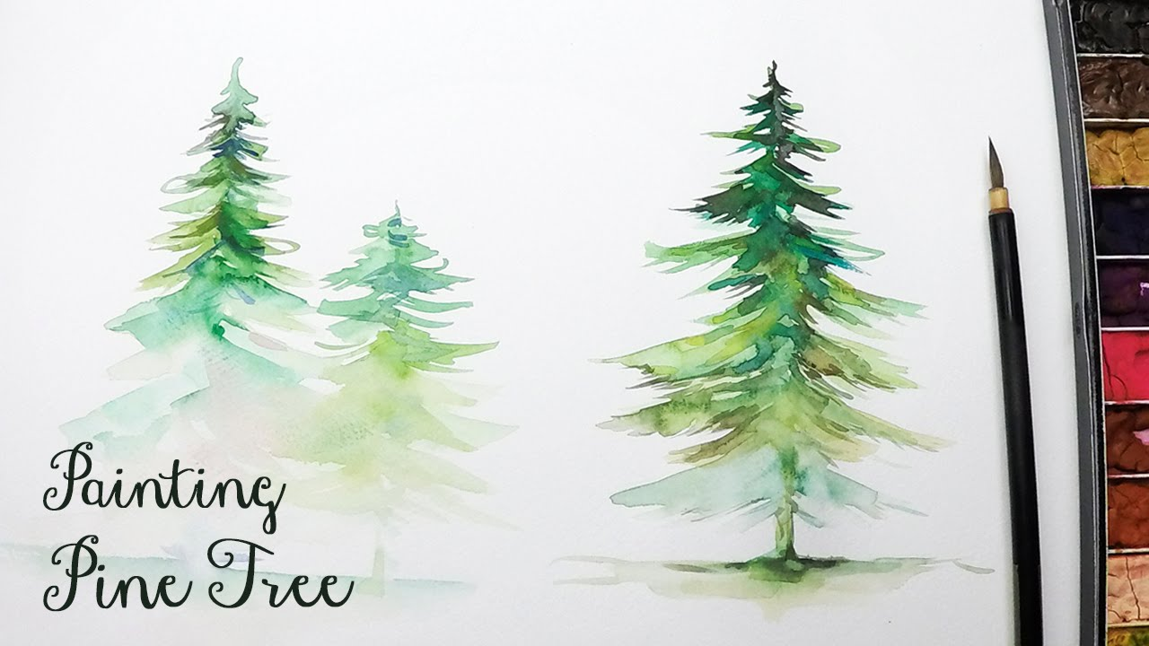 LVL3] How to Paint a Pine Tree in Watercolor - YouTube