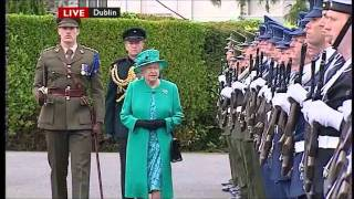 The Queen with Captain Tom Holmes inspecting the Guard Of Honour in Ireland