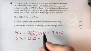 Matte NP åk 9  D delen 2011 del 1 NP Nationella prov fråga 11