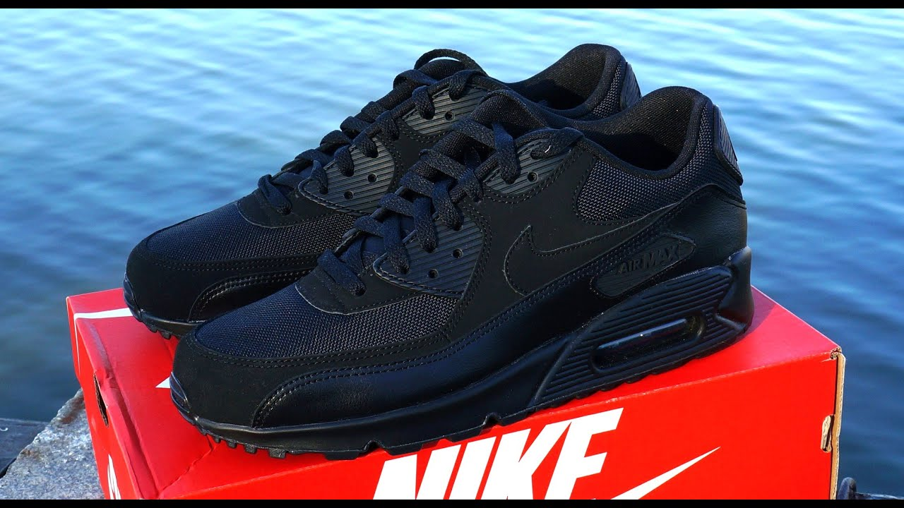 6be9b5ce137f Nike Air Max 90 Essential Triple Black - YouTube