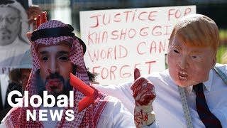 Gory protests over Khashoggi disappearance held outside White House