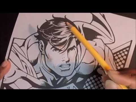 Crayola Colored Pencil Coloring an Art with Edge Superman page