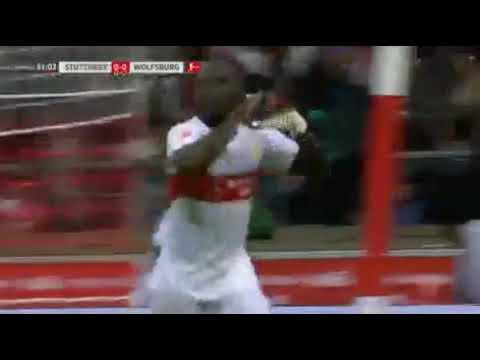 VfB Stuttgart 1 - 0 Wolfsburg 16/09/2017 Chadrac Akolo First Goal 42' HD Full Screen .  Football Hig