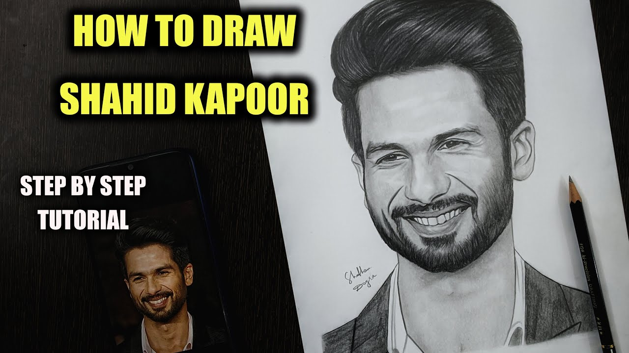 How to Draw Shahid Kapoor Step by Step Sketch tutorial - Part 2 / Pencil Shading, Blending, Hair