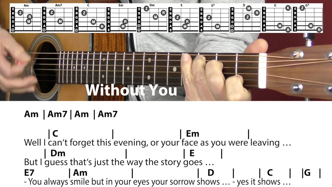 Without You   Harry Nilsson/Mariah Carey/Whitney Houston, Cover, Chords &  Lyrics, Guitar Lesson