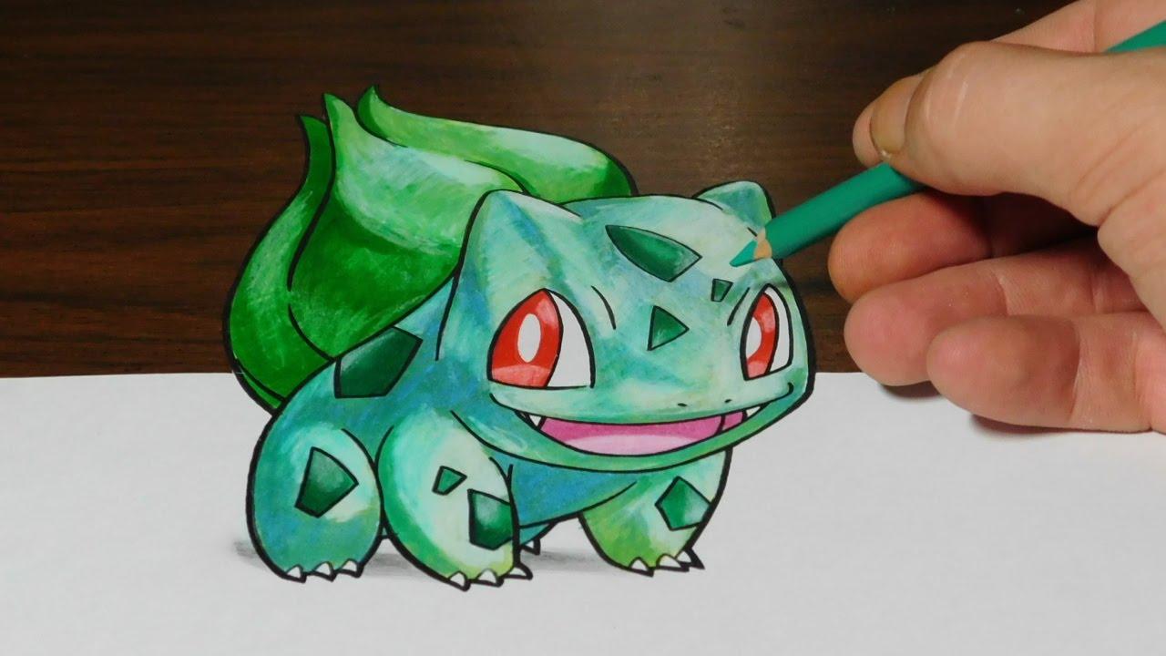 Pokemon 3d Live Wallpaper Drawing Bulbasaur Pokemon 3d Trick Art Youtube
