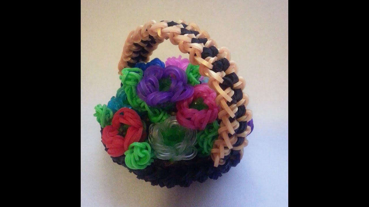 Rainbow Loom Flower Basket