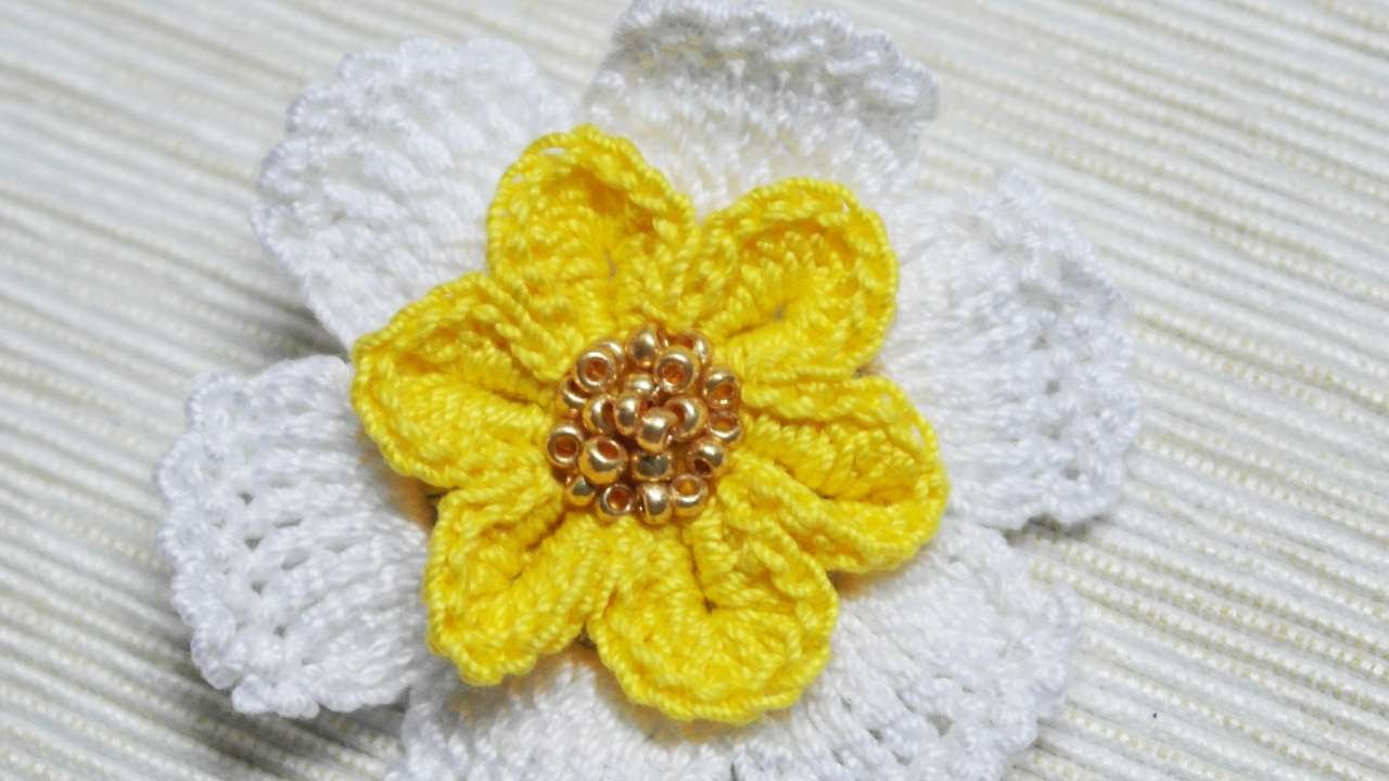 How To Make A Crocheted Flower Narcissus Brooch Diy Crafts