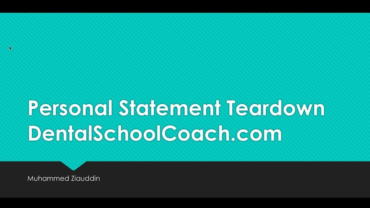 Dental School Personal Statement Review — Dental School Coach