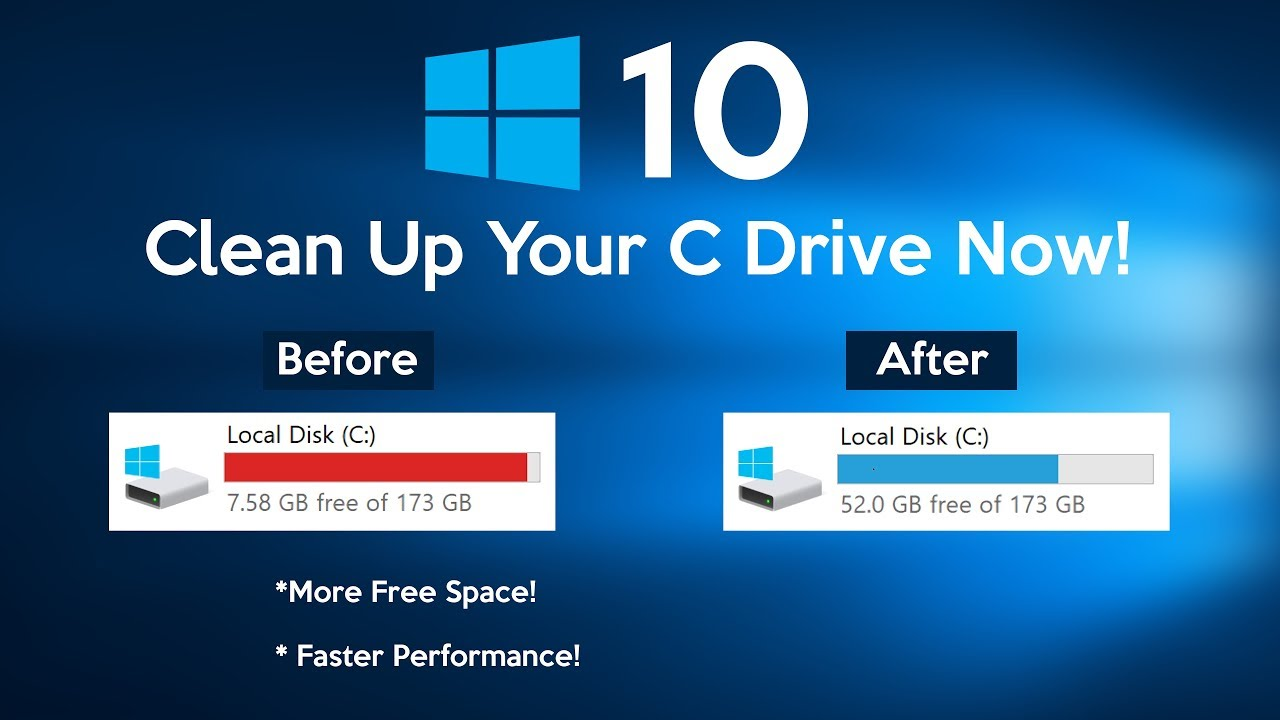 How To Clean C Drive In Windows 10 Make Your Pc Faster Youtube