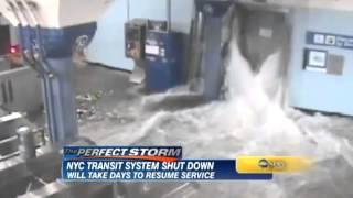 Hurricane Sandy Detailed Flood Footage NYC Subway Shut Down!
