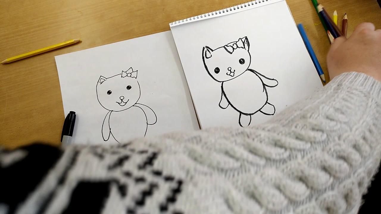 Как нарисовать ХЕЛЛО КИТТИ! Рисуем Хелло Китти! Научится ...