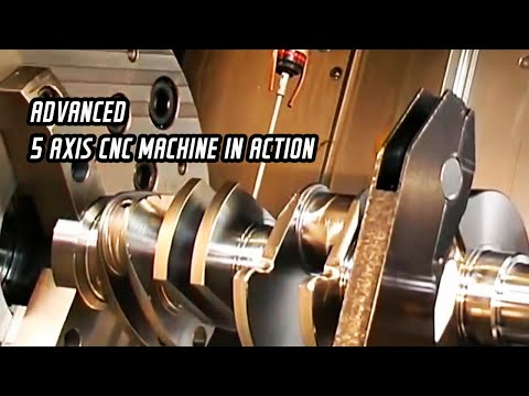 Extraordinary 5 axis CNC machine machining  a complete crankshaft for an Aerospace product