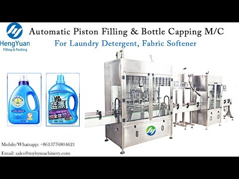 Automatic Laundry Detergent Piston Filling With Bottle Capping Machine For 0.5-5 Liter Liquid Filler