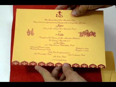 D523 Red Color Hindu Cards Indian Wedding Invitations Hindu