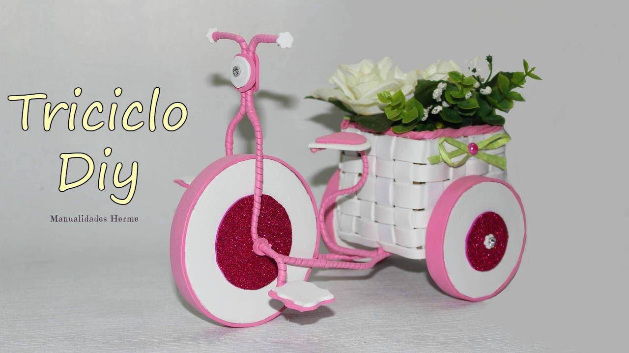 Triciclo de goma eva y alambre youtube - Manualidades decorativas para el hogar ...