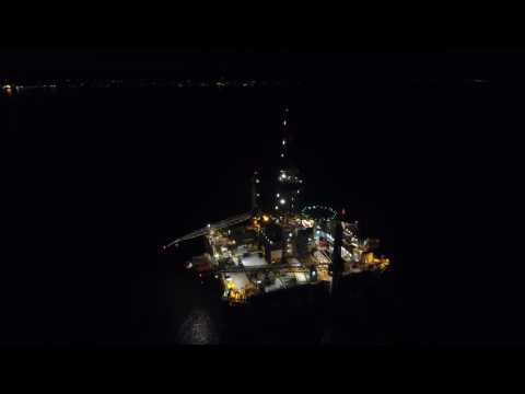 Offshore Rig Inspection Night Time - DJI Phantom P4