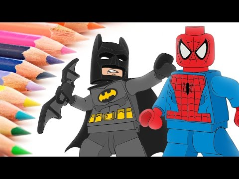 Lego batman spider man coloring pages for kids how to - Batman spiderman lego ...