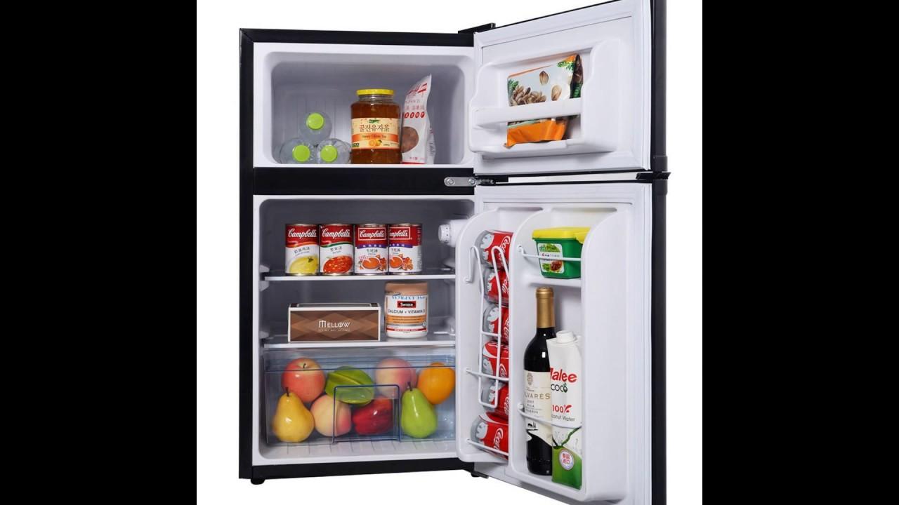 Costway 2 Door 3.4 Cu. Ft Compact Refrigerator Freezer CFC Free Furniture  Home