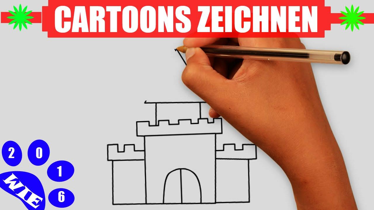 Zeichnen Lernen Schritt Fur Schritt Fur Kinder Schloss Zeichnen In