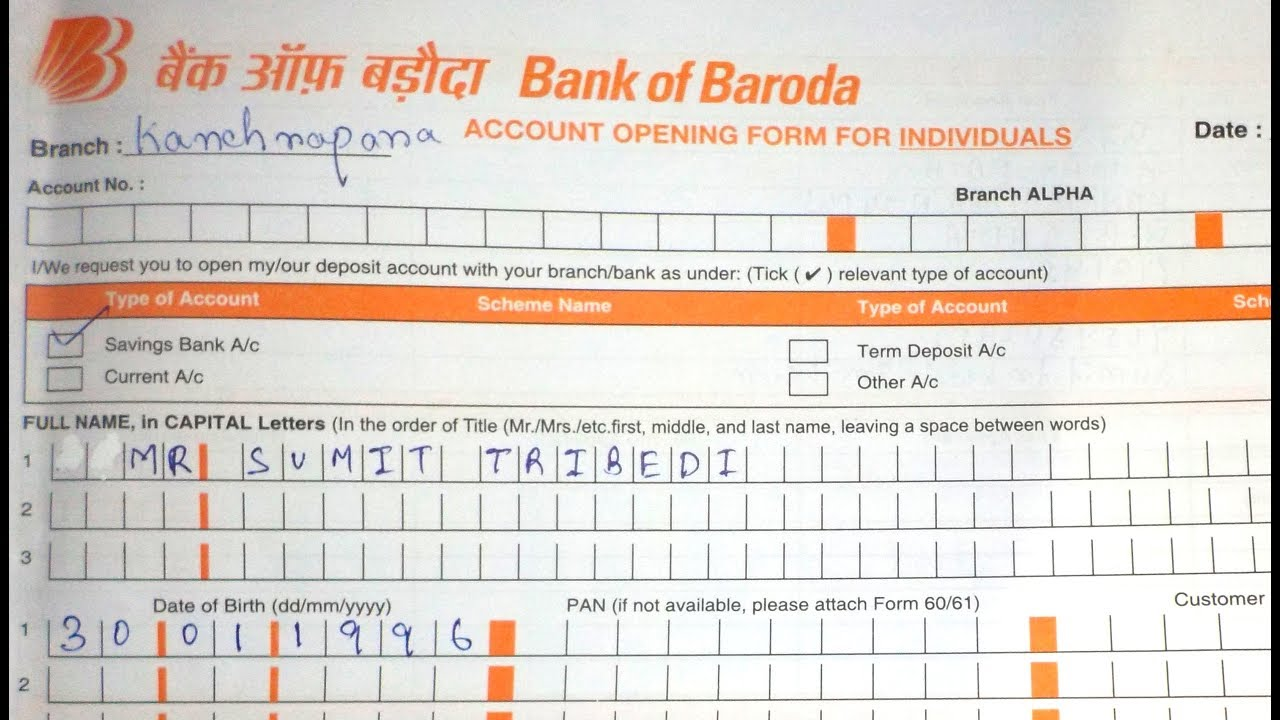 Account Opening Form Fill Up Of Bank Of Baroda Bob Simplified In Hindi Youtube