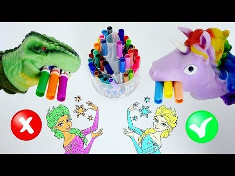 Frozen 3 Marker Challenge Dino Vs Unicorn Coloring Pages