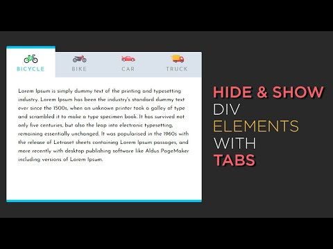Hide And Show Div Elements With Tabs Using HTML CSS And Jquery | CSS Tabs