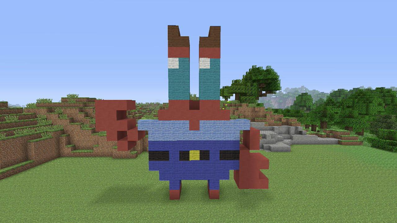 Minecraft Pixel Art Mr Krabs From Spongbob Squarepants