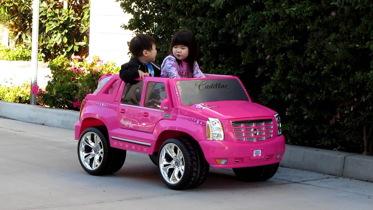 Ariel Test Driving Power Wheels Pink Cadillac Escalade - YouTube