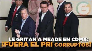 ¡Fuera el PRI, corruptos!, ¡arriba Obrador!' le gritan a Meade #CDMX #Elecciones2018