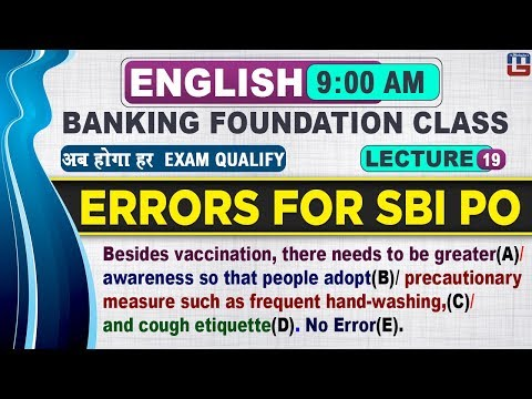 Errors For SBI PO | Banking Foundation Class | English | 9:00 AM